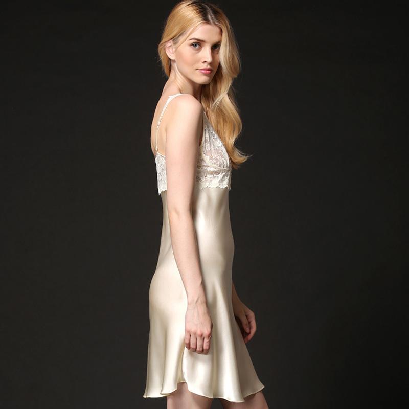 Silk Nightdress Female Sleeveless Summer V-Neck Simple Sexy Nightgowns Real Silk Sleepwear Women High Quality Clothing
