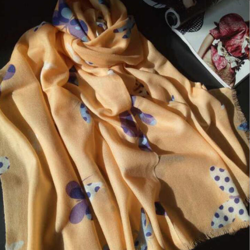 New Wool Scarf Winter Woman Yellow Butterfly Printed Wool Scarf Shawls Winter Lady Gift Free Shipping