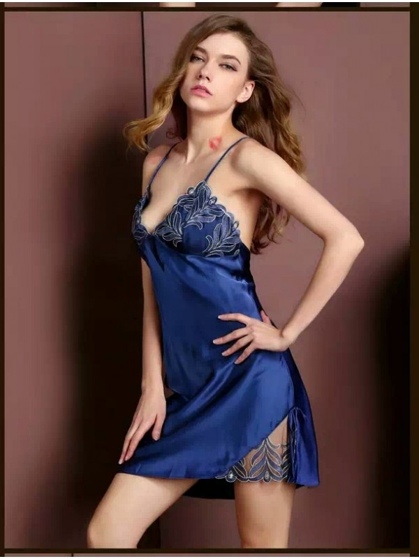 Pure Silk Pajamas Dress Blue Women Pajamas Dress