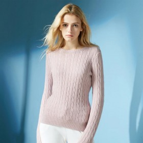 Pure Cashmere Sweater Pink Round Neck Lady Winter Sweater