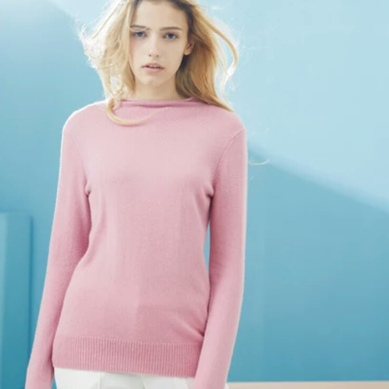 Pure Cashmere Sweater Blue Pullover Neck Lady Winter Sweater