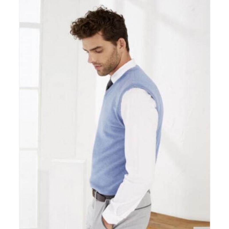 Pure Cashmere Sweater Blue Sleeveless Men Winter Sweater