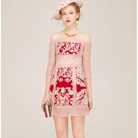 Soft Cotton Blended Pink Lace Red Dress Summer Fashion Clothing