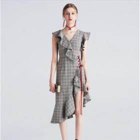 Viscose Party Dresses Gray Plaid Flouncy Women Summer Dress