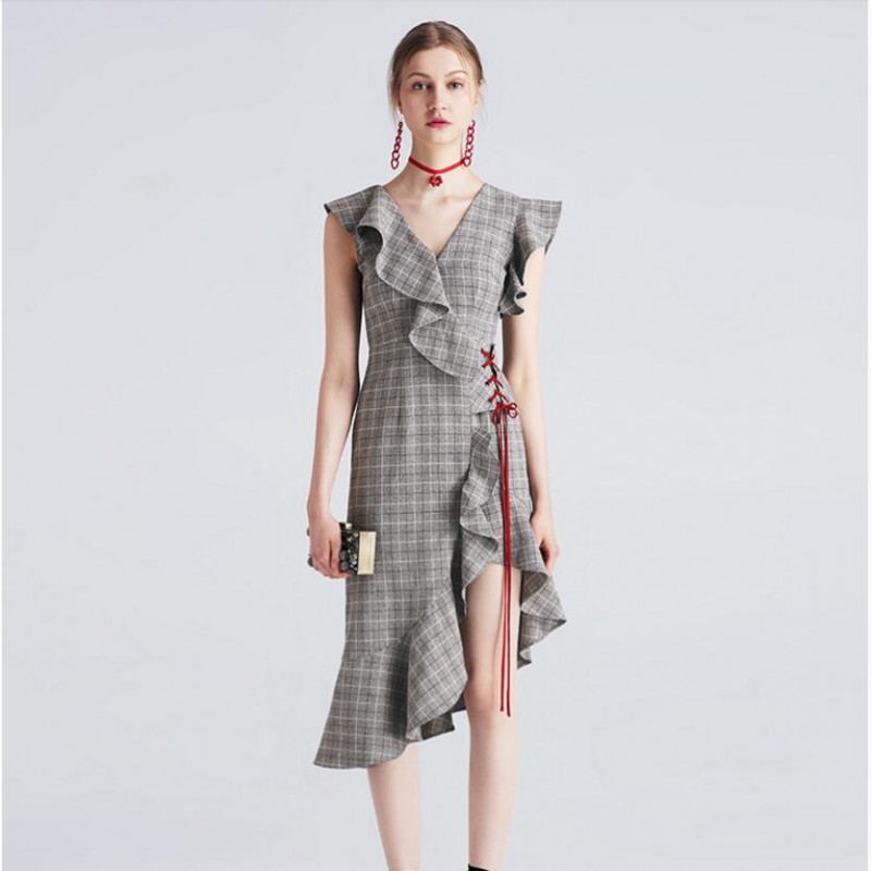 Viscose Party Dresses Gray Plaid Flouncy Women Summer Dress