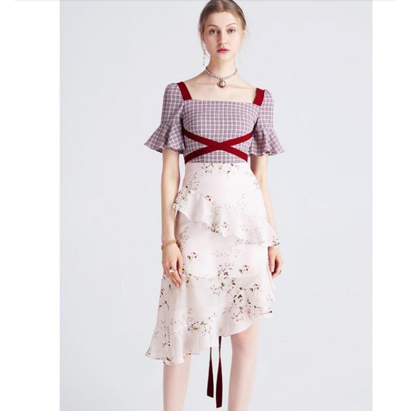 Soft Cotton Blended Pink Print Dress Summer Fashion Clothing