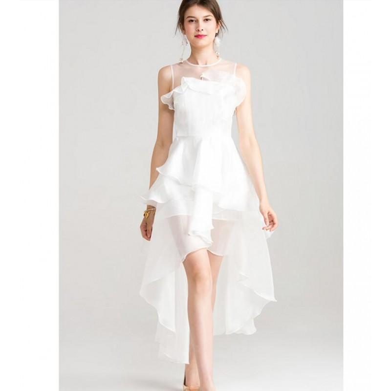 Viscose Party Dresses White Off Shoulder Layer Women Summer Dress