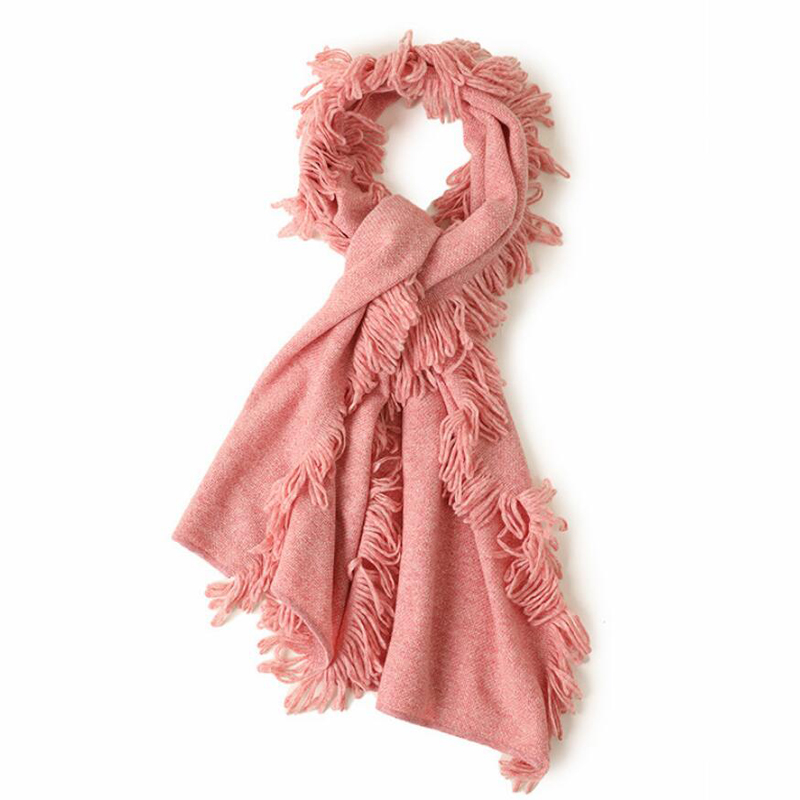 Cashmere Scarf Women Fashion Fringe 100 Cashmere Scarfs Pink Girl High Quality Free Shipping