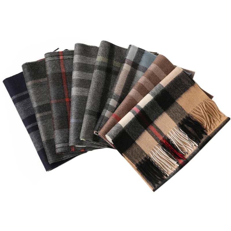 Cashmere Scarf Men Scotland Plaid Gray Camel High Quality Winter Scarf Warm Thick Free Shipping