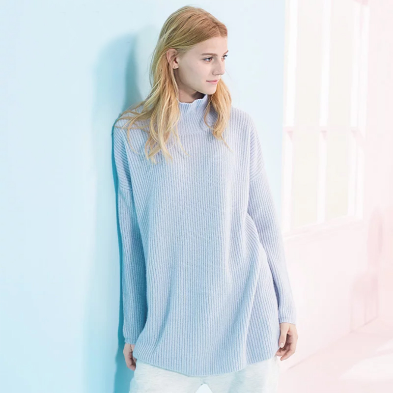 Pure Cashmere Sweater Blue Loose Pullover Neck Lady Winter Sweater