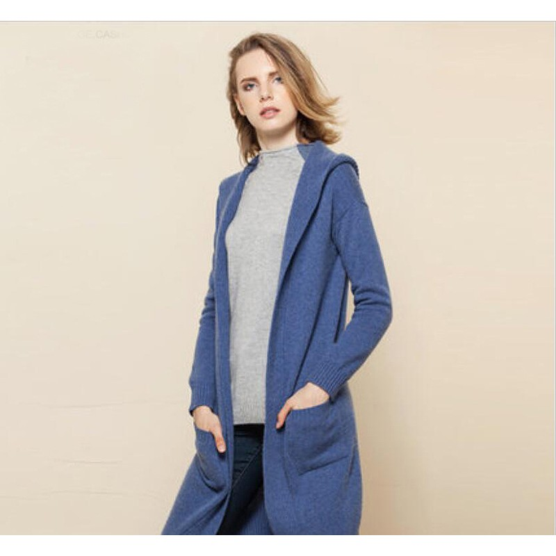 Pure Cashmere Sweater Blue Long Winter Women Sweater