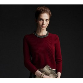 Pure Cashmere Sweater Red Round Collar Women Winter Sweater