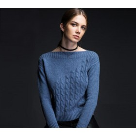 Pure Cashmere Sweater Navy Boat Neck Women Winter Sweater