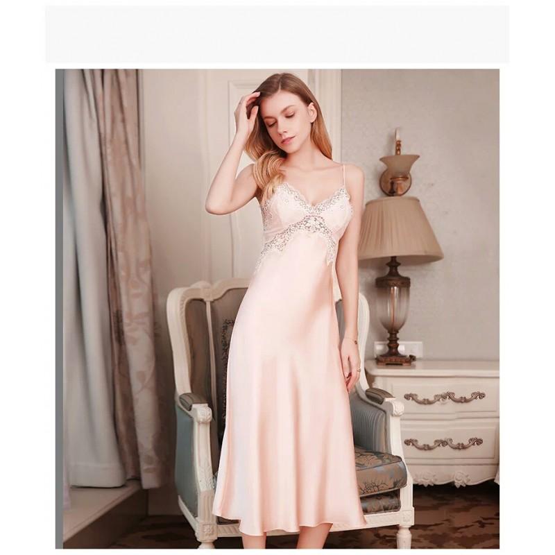 Pure Silk Pajamas Dress Pink Long Women Summer Dress