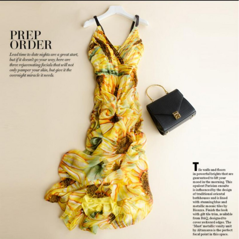Pure Silk Beach Dress Yellow Long Women Summer Clothing