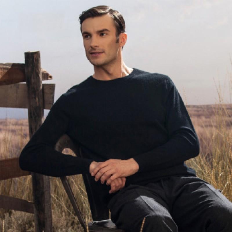 Pure Cashmere Sweater Black Winter Men Sweater