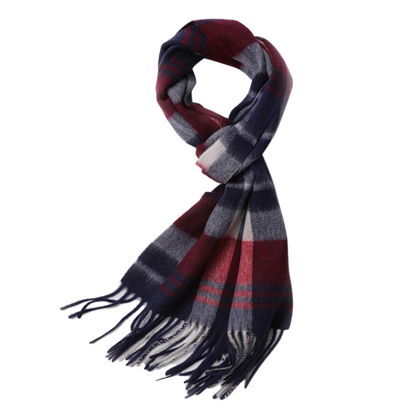Wool Scarf Winter Men Fringe 100%Wool Scarf Plaid Women High Quality Free Shipping