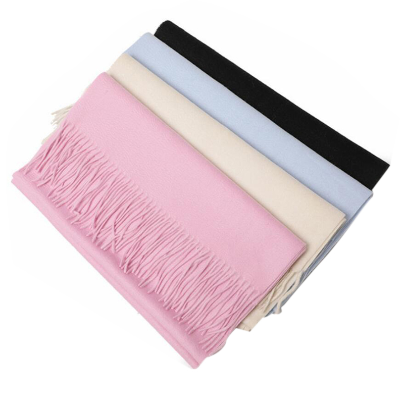 Cashmere Scarf Women Sweet Pink Fringe 100 Cashmere Scarfs High Quality Warm Thick Girl  Free Shipping