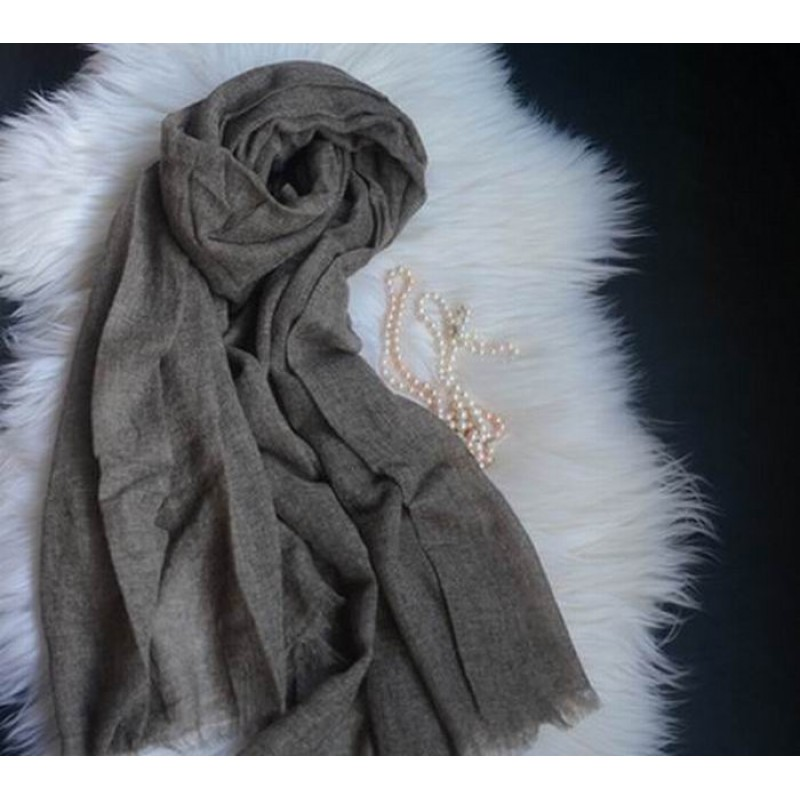 Pure Cashmere Scarves Gray Brown Women Winter Scarf