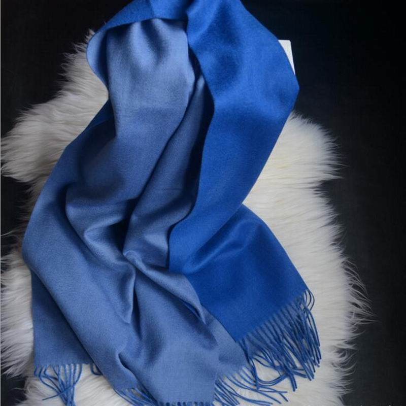 Pure Cashmere Scarves Blue Women Winter Scarf