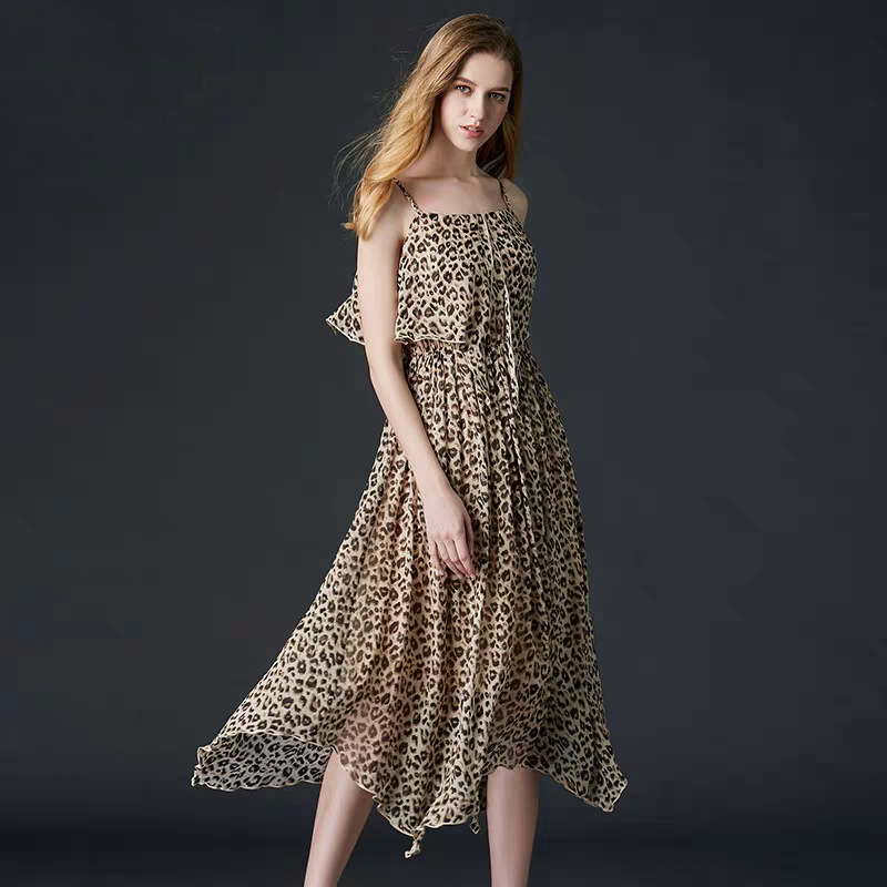 High Quality Fabric Woman Clothing Hot Selling 2019 New Summer Dress Women100% Silk Leopard - Print Suspender Open Back Dress