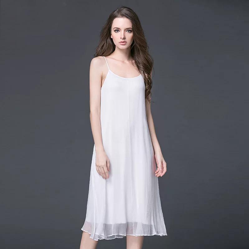 2019 Fashion Summer Women Sleeveless Dress 100% Real Silk Sexy Bright Silk Suspender Open Back Dress High Quality Free Shipping