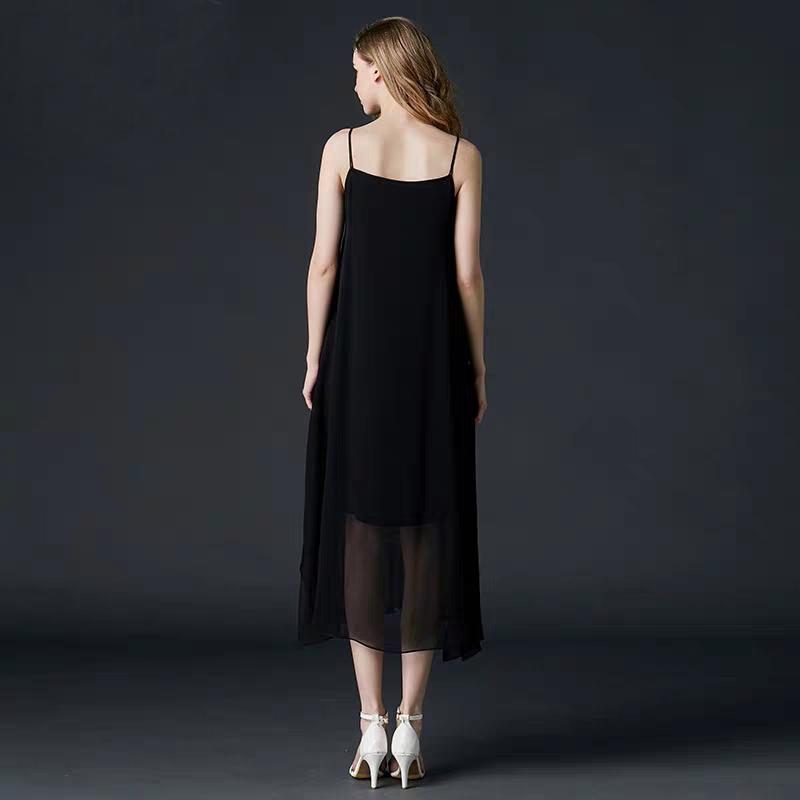 2019 New Summer Women Sleeveless Dress 100 silk Sexy Bright Silk Suspender Dress Open Back Dress High Quality Free Shipping