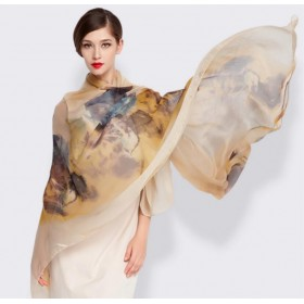 Pure Silk Scarf Camel Yellow Print Women Summer Scarf