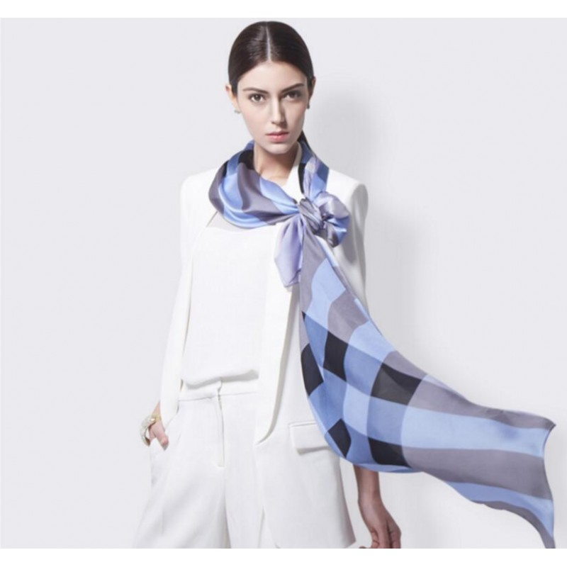 Pure Silk Scarf Blue Plaid Women Summer Scarf