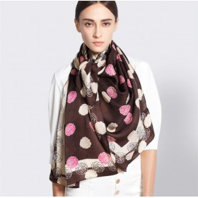 Pure Silk Scarf Coffee Pastel Dot Print Women Summer Scarf