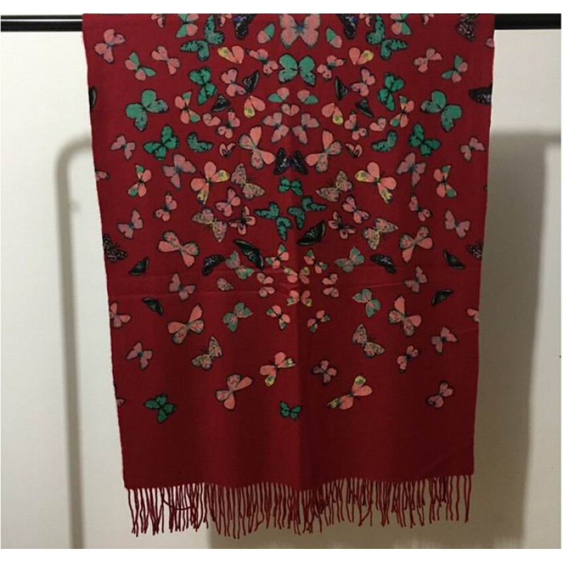 Pure Cashmere Scarves Black Butterfly Print Women Winter Scarf