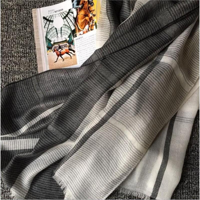 Pure Cashmere Scarves Khaki Plaid Women Fashional Winter Scarf