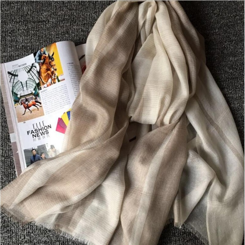 Pure Cashmere Scarves Khaki Plaid Women Fashional Winter Scarf