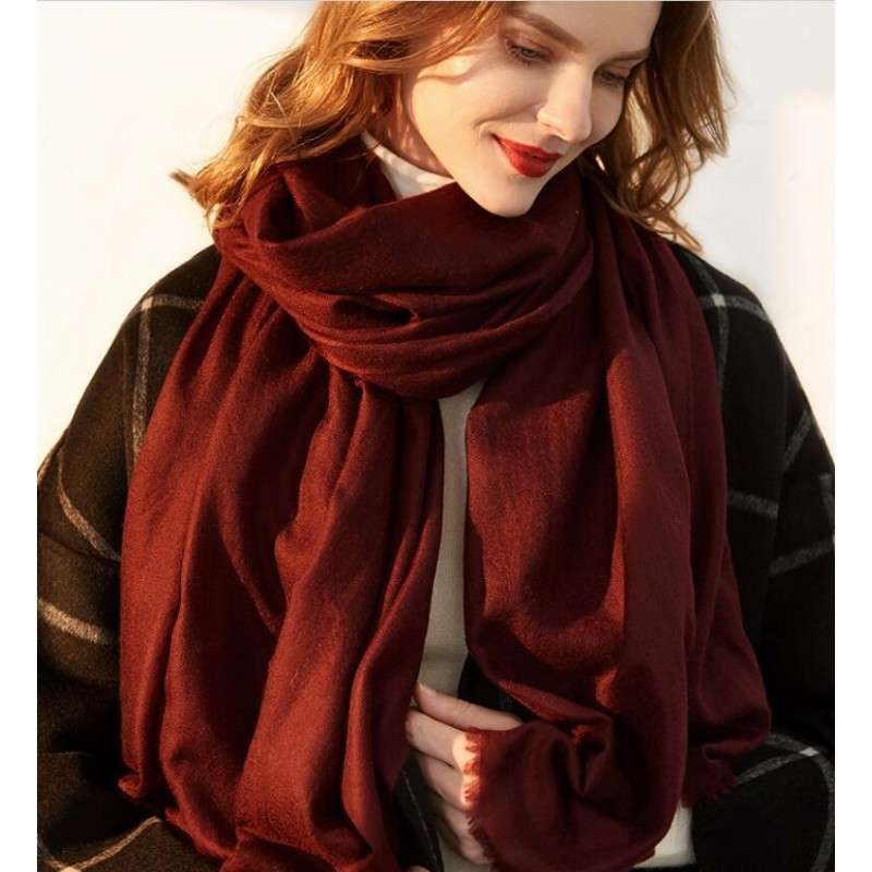 Bogeda New Winter 100%Cashmere Scarf Women 200s Worsted Yarn Extra Thin Pashmina Wine Lady High Quality Free Shipping