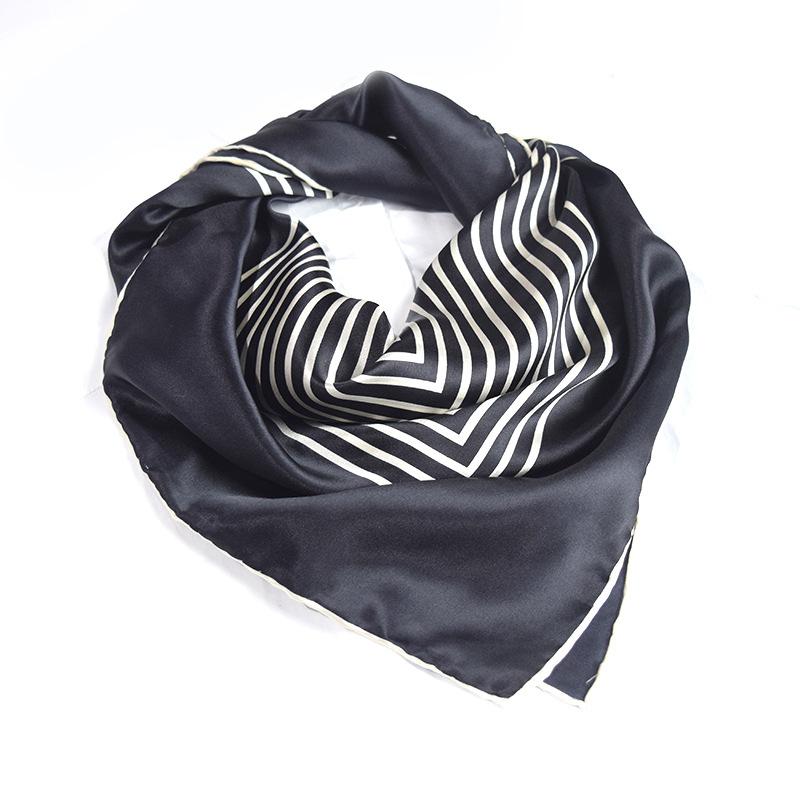 Silk Scarf 90*90cm100 silk black and white stripes  High Quality Free Shipping