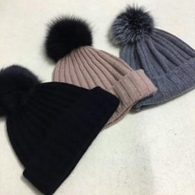 14a905c382e Pure Cashmere Hat Beige Fur Pom-Pom Women Winter Hat