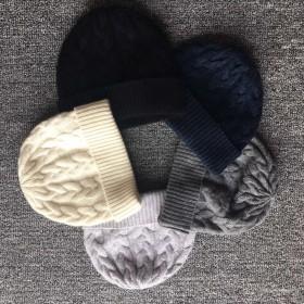 222dd64cc1b Pure Cashmere Hat Blue Black Winter Cashmere Hat