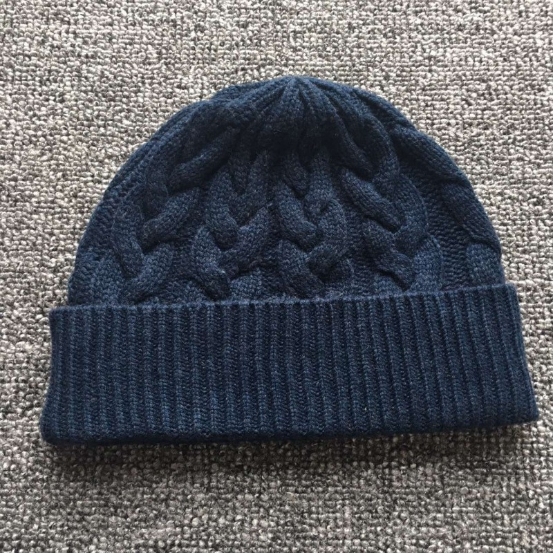 Pure Cashmere Hat Blue Black Winter Cashmere Hat