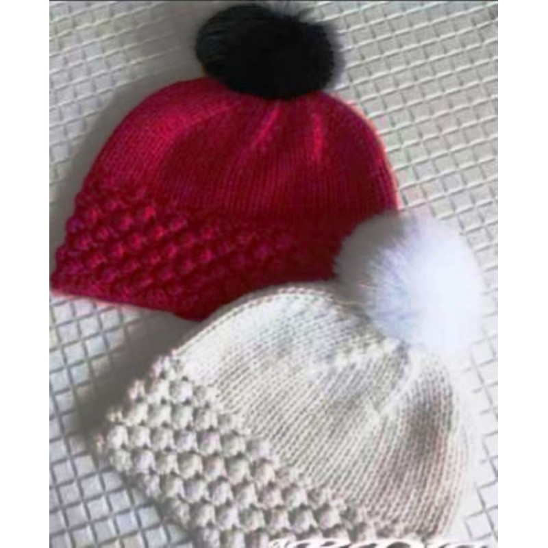 Hand Made Cashmere Hat Red White Women Winter Hat