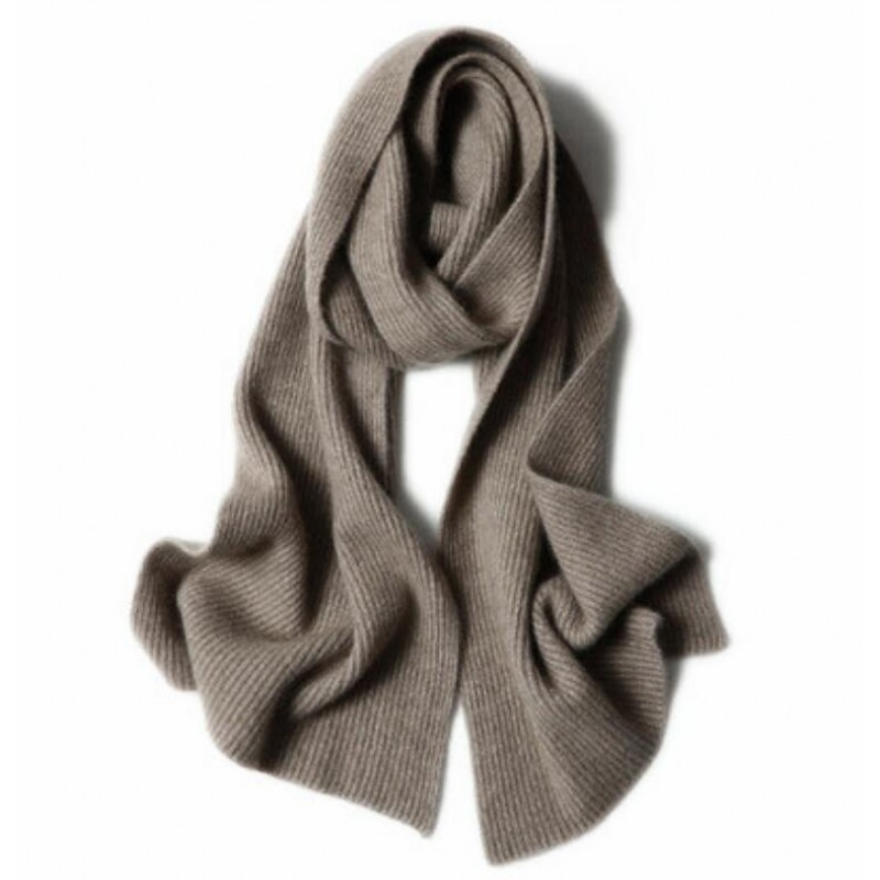 100%Cashmere Scarf Women Men Solid Color Warm Winter Scarfs Khaki