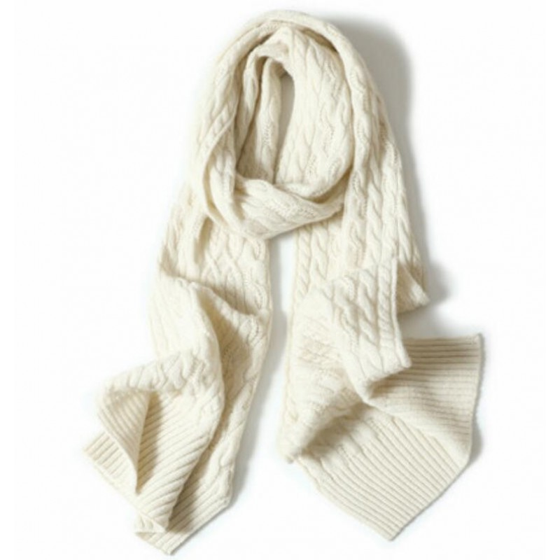 100%Cashmere Scarf Women Men Solid Color Warm Winter Scarfs White