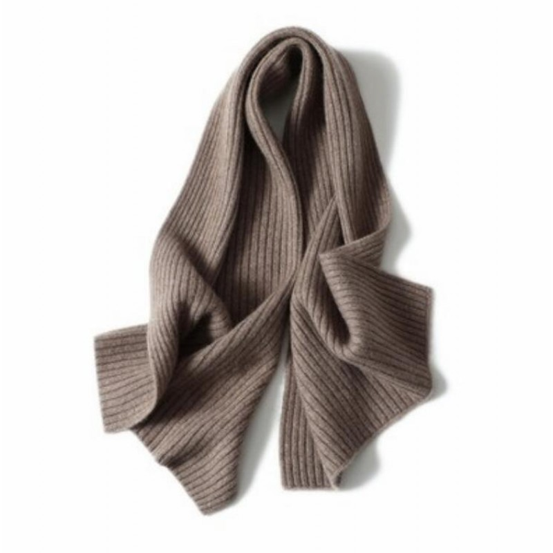 100%Cashmere Scarf Women Men Solid Color Warm Winter Scarfs Brown
