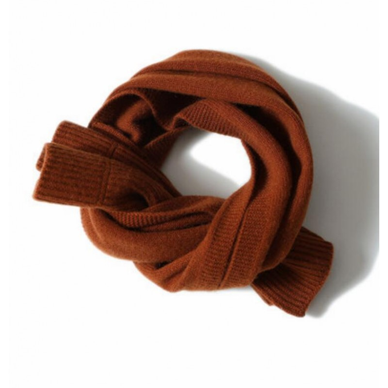 100%Cashmere Scarf Women Men Solid Color Warm Winter Scarfs Red