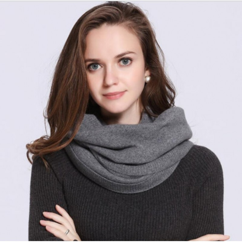 100%Cashmere Scarf Women Men Solid Color Warm Winter Scarfs Gray