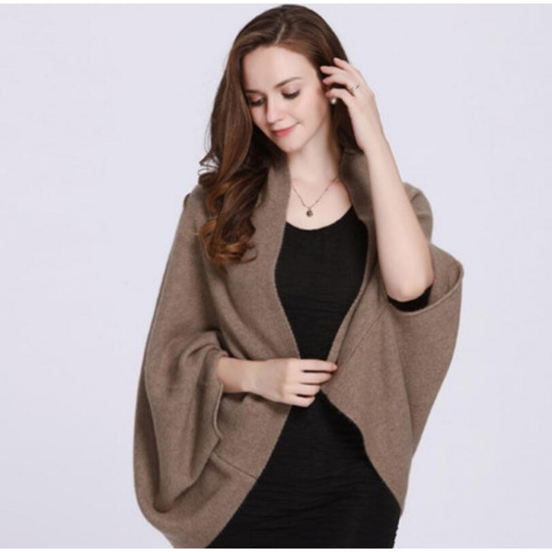 100%Cashmere Scarf Women Shawl Solid Color Warm Winter Scarfs Brown