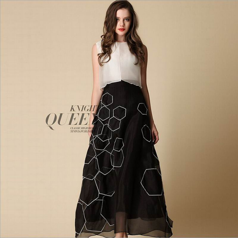 Pure Silk Dress White Black Long Women Summer Dress