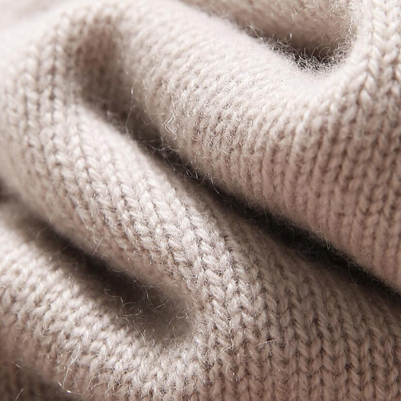 Pure Cashmere Sweater Beige Loose Pullover Neck Lady Winter Sweater 100%cashmere