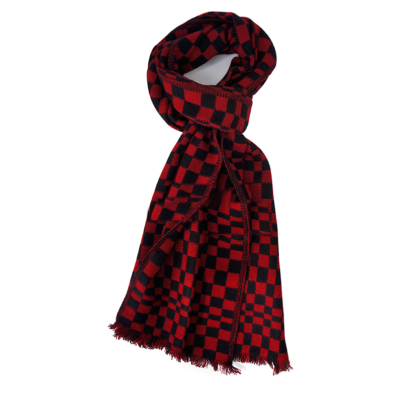 Pure Cashmere Scarves Red Plaid Women Fashional Winter Scarf