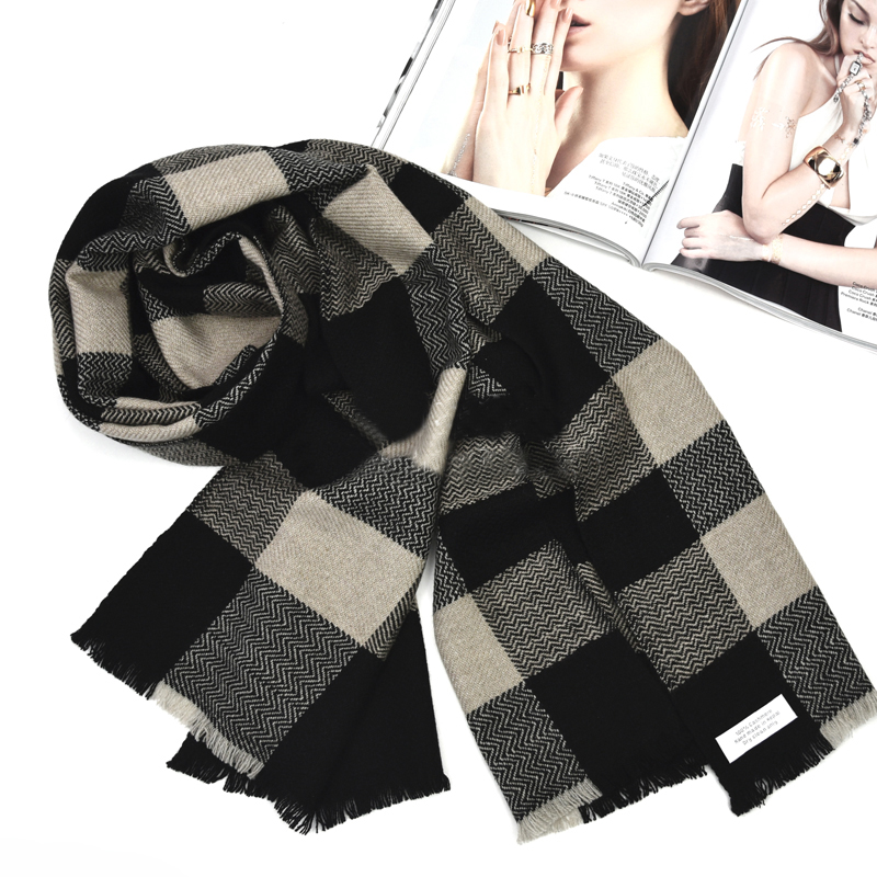 Pure Cashmere Scarves Black Plaid Women Fashional Winter Scarf