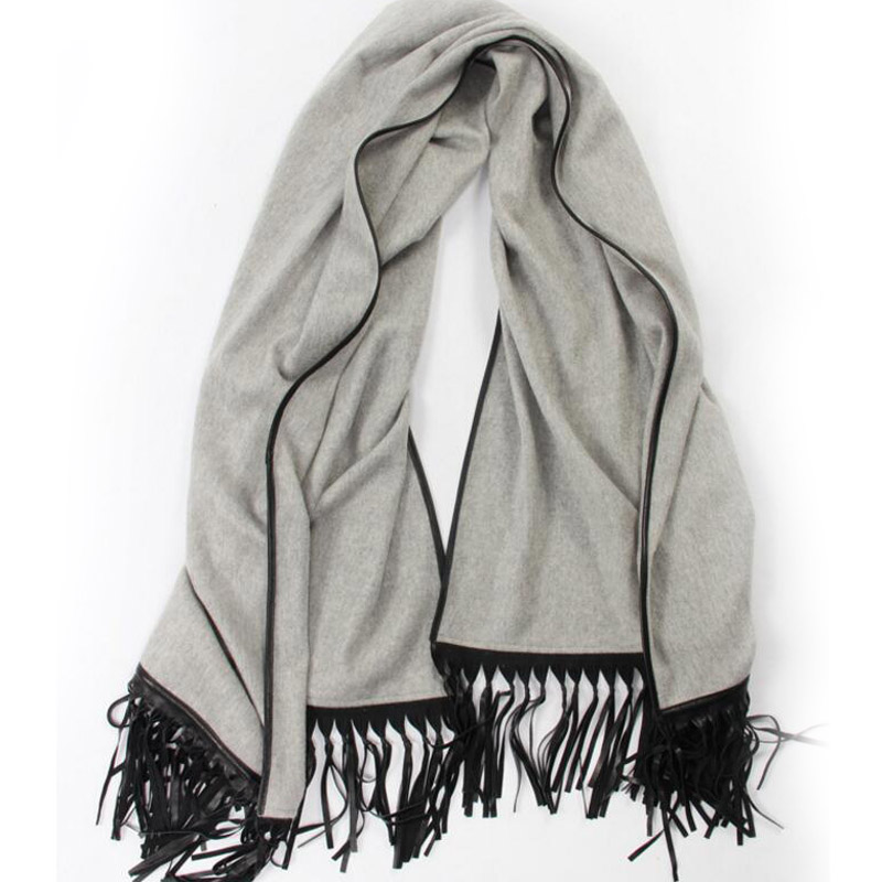 Pure Cashmere Scarves Gray Women Winter Scarf